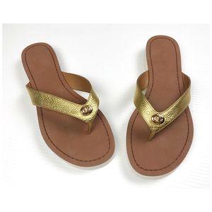 {Coach} Shelly Gold Turnlock Flip Flop Sandals